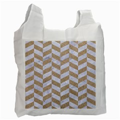 Chevron1 White Marble & Sand Recycle Bag (two Side)  by trendistuff