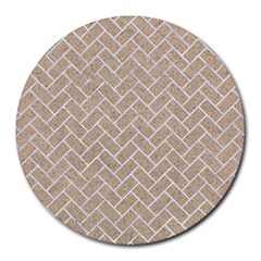 Brick2 White Marble & Sand Round Mousepads by trendistuff