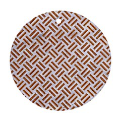 Woven2 White Marble & Rusted Metal (r) Round Ornament (two Sides) by trendistuff