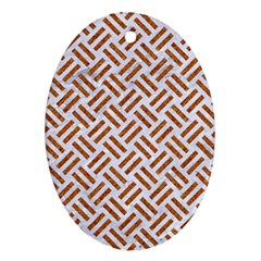 Woven2 White Marble & Rusted Metal (r) Oval Ornament (two Sides) by trendistuff