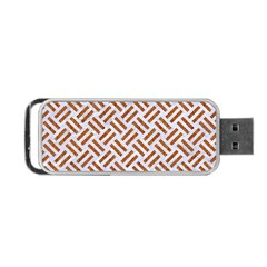 Woven2 White Marble & Rusted Metal (r) Portable Usb Flash (one Side) by trendistuff