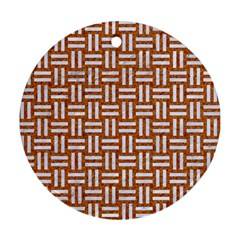 Woven1 White Marble & Rusted Metal Round Ornament (two Sides) by trendistuff