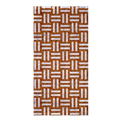 Woven1 White Marble & Rusted Metal Shower Curtain 36  X 72  (stall)  by trendistuff