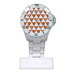 Triangle3 White Marble & Rusted Metal Plastic Nurses Watch by trendistuff