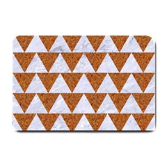 Triangle2 White Marble & Rusted Metal Small Doormat  by trendistuff