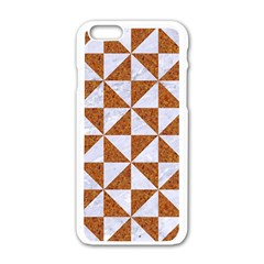 Triangle1 White Marble & Rusted Metal Apple Iphone 6/6s White Enamel Case by trendistuff