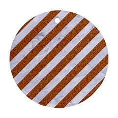 Stripes3 White Marble & Rusted Metal (r) Round Ornament (two Sides) by trendistuff