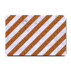 Stripes3 White Marble & Rusted Metal (r) Small Doormat  by trendistuff