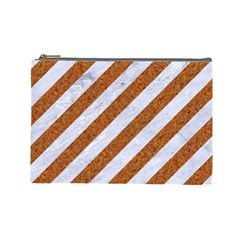 Stripes3 White Marble & Rusted Metal (r) Cosmetic Bag (large)  by trendistuff