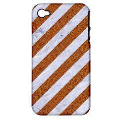 Stripes3 White Marble & Rusted Metal (r) Apple Iphone 4/4s Hardshell Case (pc+silicone) by trendistuff