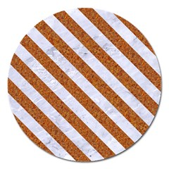 Stripes3 White Marble & Rusted Metal Magnet 5  (round) by trendistuff