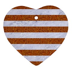 Stripes2white Marble & Rusted Metal Heart Ornament (two Sides) by trendistuff