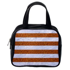 Stripes2white Marble & Rusted Metal Classic Handbags (one Side) by trendistuff