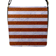 Stripes2white Marble & Rusted Metal Flap Messenger Bag (l)  by trendistuff