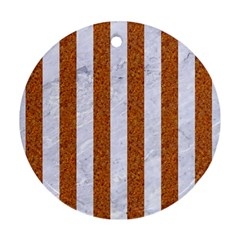 Stripes1 White Marble & Rusted Metal Round Ornament (two Sides) by trendistuff