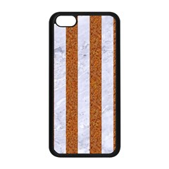 Stripes1 White Marble & Rusted Metal Apple Iphone 5c Seamless Case (black) by trendistuff