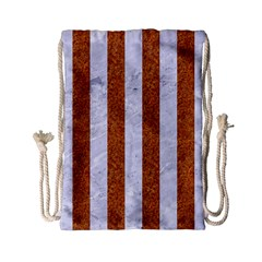 Stripes1 White Marble & Rusted Metal Drawstring Bag (small) by trendistuff