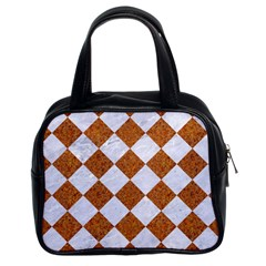 Square2 White Marble & Rusted Metal Classic Handbags (2 Sides) by trendistuff