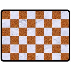 Square1 White Marble & Rusted Metal Double Sided Fleece Blanket (large)  by trendistuff