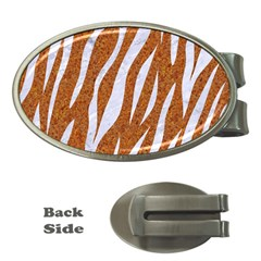 Skin3 White Marble & Rusted Metal Money Clips (oval)  by trendistuff