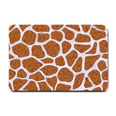Skin1 White Marble & Rusted Metal (r) Small Doormat  by trendistuff