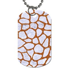 Skin1 White Marble & Rusted Metal Dog Tag (one Side) by trendistuff
