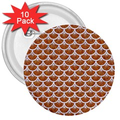 Scales3 White Marble & Rusted Metal 3  Buttons (10 Pack)  by trendistuff