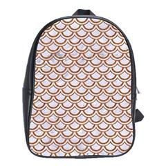 Scales2 White Marble & Rusted Metal (r) School Bag (large) by trendistuff
