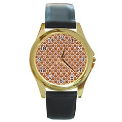 Scales2 White Marble & Rusted Metal Round Gold Metal Watch by trendistuff
