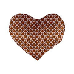 Scales2 White Marble & Rusted Metal Standard 16  Premium Flano Heart Shape Cushions by trendistuff