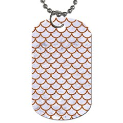 Scales1 White Marble & Rusted Metal (r) Dog Tag (one Side) by trendistuff