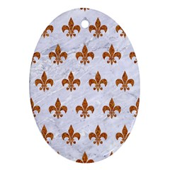 Royal1 White Marble & Rusted Metal Ornament (oval) by trendistuff