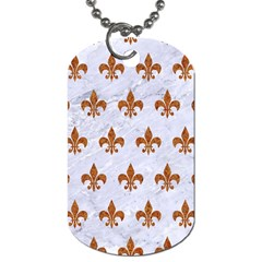 Royal1 White Marble & Rusted Metal Dog Tag (one Side) by trendistuff