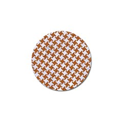 Houndstooth2 White Marble & Rusted Metal Golf Ball Marker (4 Pack) by trendistuff