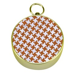 Houndstooth2 White Marble & Rusted Metal Gold Compasses by trendistuff