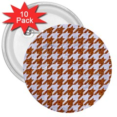 Houndstooth1 White Marble & Rusted Metal 3  Buttons (10 Pack)  by trendistuff