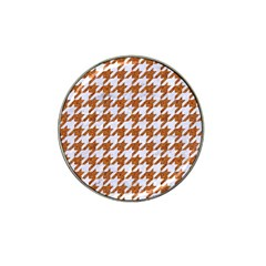 Houndstooth1 White Marble & Rusted Metal Hat Clip Ball Marker (4 Pack) by trendistuff