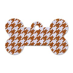 Houndstooth1 White Marble & Rusted Metal Dog Tag Bone (two Sides) by trendistuff