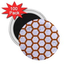 Hexagon2 White Marble & Rusted Metal (r) 2 25  Magnets (100 Pack)  by trendistuff