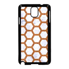Hexagon2 White Marble & Rusted Metal (r) Samsung Galaxy Note 3 Neo Hardshell Case (black) by trendistuff
