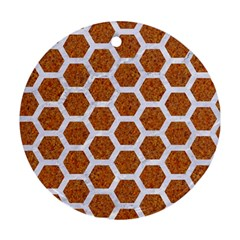 Hexagon2 White Marble & Rusted Metal Round Ornament (two Sides) by trendistuff