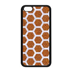Hexagon2 White Marble & Rusted Metal Apple Iphone 5c Seamless Case (black) by trendistuff