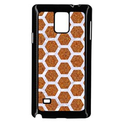 Hexagon2 White Marble & Rusted Metal Samsung Galaxy Note 4 Case (black) by trendistuff