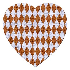 Diamond1 White Marble & Rusted Metal Jigsaw Puzzle (heart) by trendistuff