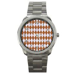 Diamond1 White Marble & Rusted Metal Sport Metal Watch by trendistuff