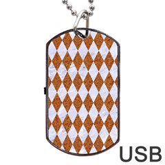 Diamond1 White Marble & Rusted Metal Dog Tag Usb Flash (two Sides) by trendistuff