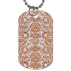 Damask2 White Marble & Rusted Metal (r) Dog Tag (one Side) by trendistuff