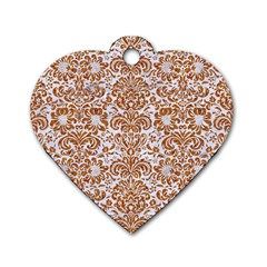 Damask2 White Marble & Rusted Metal (r) Dog Tag Heart (two Sides) by trendistuff