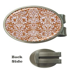 Damask2 White Marble & Rusted Metal Money Clips (oval)  by trendistuff