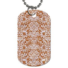 Damask2 White Marble & Rusted Metal Dog Tag (one Side) by trendistuff